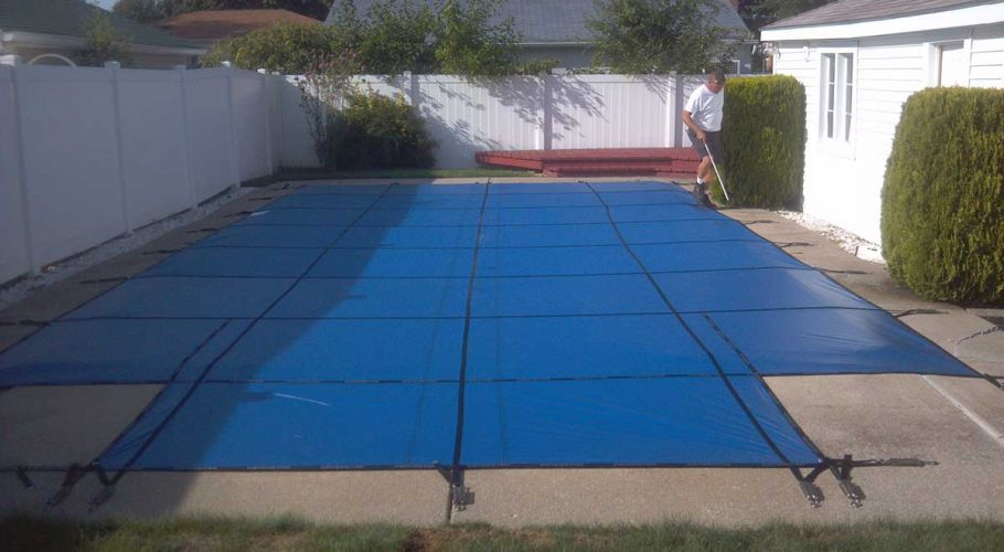 Latham Solid safety cover Installation Westland, MI. Thomas Pool Service
