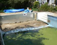Bowed,damaged and rusted pool walls replaced with new kafko walls